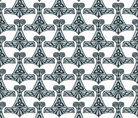 Thor's Hammer on White fabric by rainfeather13 on Spoonflower - custom fabric