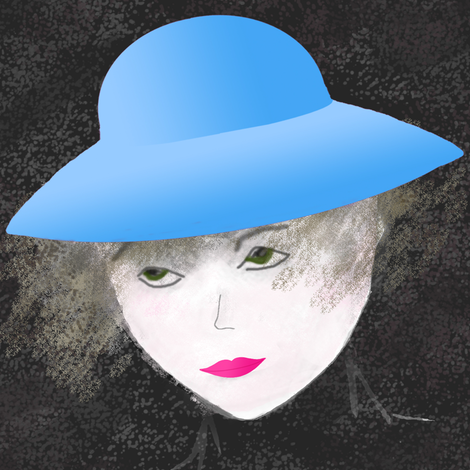 Woman_with_blue_hat fabric by itsnaart_fabrics on Spoonflower - custom fabric