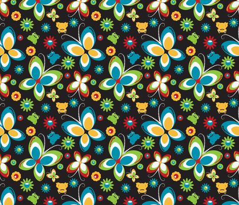 retro butterfly frog-black fabric by deesignor on Spoonflower - custom fabric