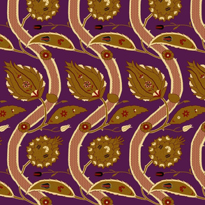Ottoman Vines-Purple