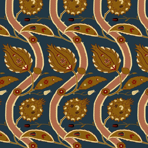 Ottoman Vines-Blue