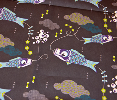 Koi No Bori (Japanese Koi Fish Kites) in the night sky BLUE