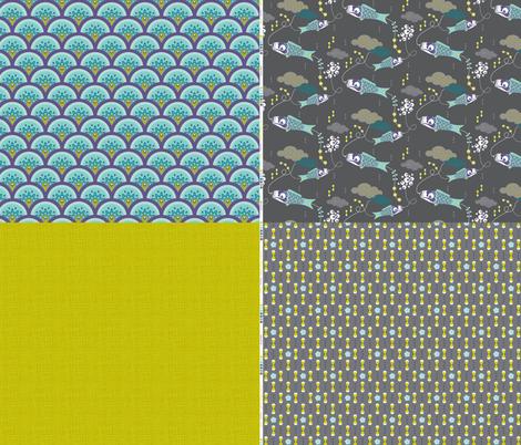Koi No Bori BLUE Sampler fabric by zesti on Spoonflower - custom fabric