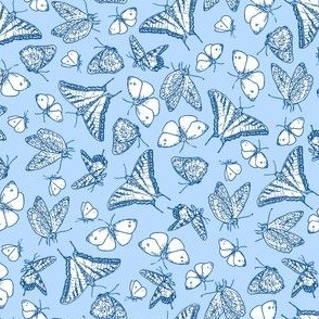 My Garden Toile Butterflies Ditsy Blue ©2011 by Jane Walker