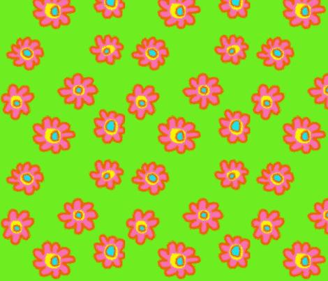 Bright Flowers-Green fabric by mammajamma on Spoonflower - custom fabric