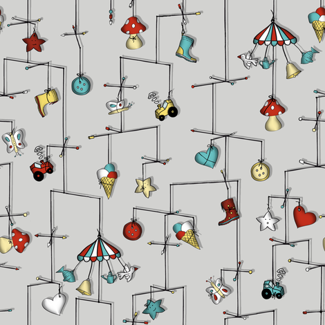 lost in reverie... (light grey) fabric by annosch on Spoonflower - custom fabric