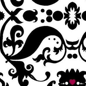 Damask with pink hearts Black on White