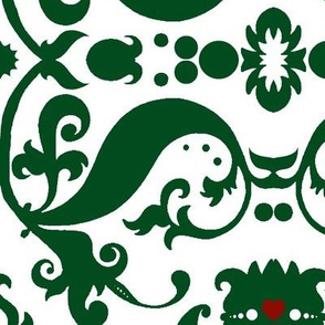 Damask with red hearts green on white