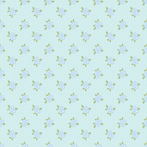 tiny blue flowers on blue with white dots