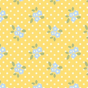 little blue flowers on yellow dots