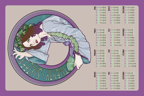 2016 Nouveau Calendar fabric by phantomssiren on Spoonflower - custom fabric