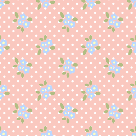 sweet little blue flowers on rosa fabric by eoskoch on Spoonflower - custom fabric