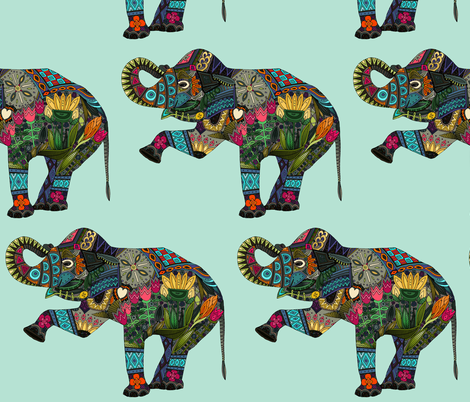 asian elephant aqua I fabric by scrummy on Spoonflower - custom fabric