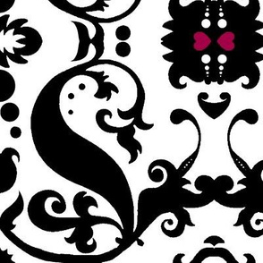 Damask with pink hearts Black on White sideways