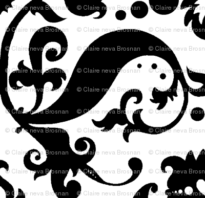 Damask with white hearts Black on White