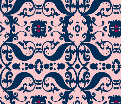 Damask with pink hearts blue on light pink fabric by nb_design on Spoonflower - custom fabric