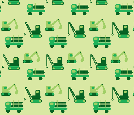 trucks- green fabric by krihem on Spoonflower - custom fabric