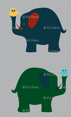 elephants and owls - gray background