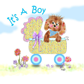 It's A boy Puppy love by Rosanna Hope for Babybonbons