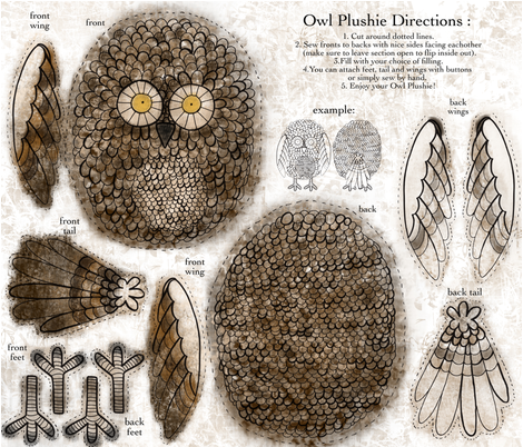 Owl Plushie (brown hues) fabric by creativebrenda on Spoonflower - custom fabric