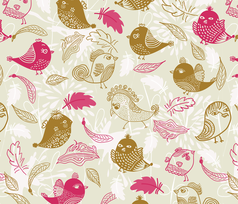 birds and feathers fabric by anastasiia-ku on Spoonflower - custom fabric