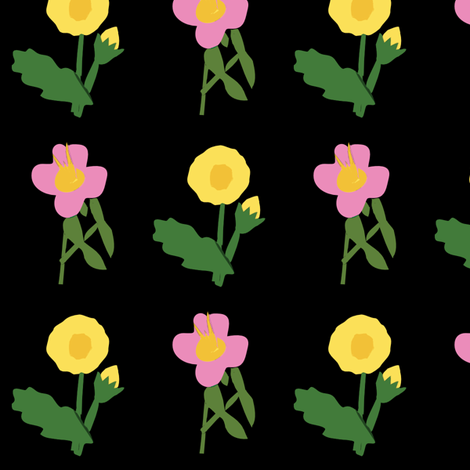 Flowers on Black fabric by laurawilson on Spoonflower - custom fabric