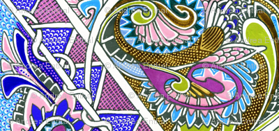 Wings And Things Paisley Zig Zag Vertical Stripe
