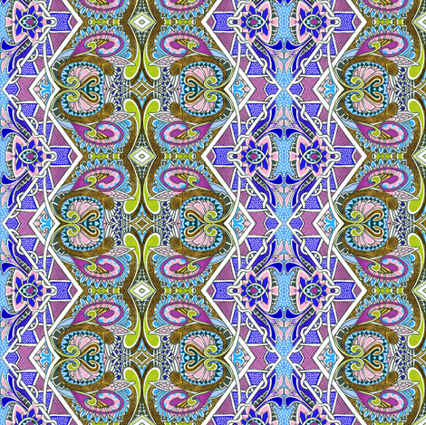 Wings And Things Paisley Zig Zag Vertical Stripe fabric by edsel2084 on Spoonflower - custom fabric