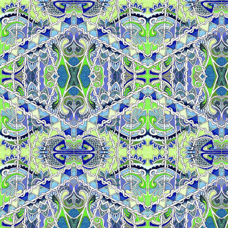 Blue and Green Diamonds and Twists fabric by edsel2084 on Spoonflower - custom fabric