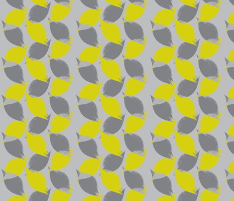 Leaf Strokes in Citron and Grey fabric by bluenini on Spoonflower - custom fabric