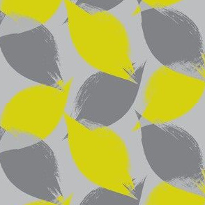 Leaf Strokes in Citron and Grey