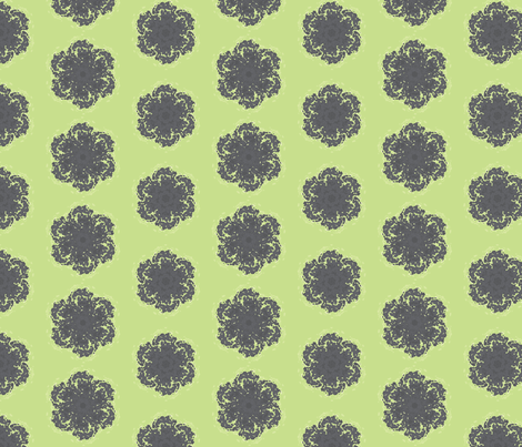 Wall Flower in Black and Green fabric by bluenini on Spoonflower - custom fabric