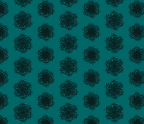 Wall Flower in Black and Teal fabric by bluenini on Spoonflower - custom fabric