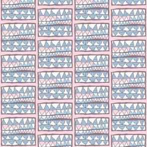 Meg's skirt: blue and white gelati teeth on pink, small