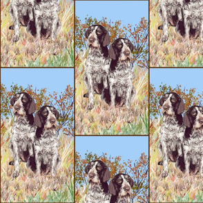 german wirehaired Pointers on rustic background