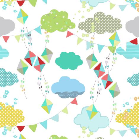 kites white fabric by katarina on Spoonflower - custom fabric