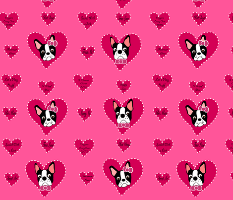 Valentine Bostons, too!  fabric by missyq on Spoonflower - custom fabric