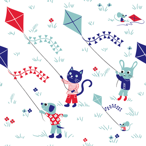 Kite friends White fabric by needlebook on Spoonflower - custom fabric