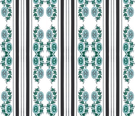 Green grey vintage stripey flower fabric by jennifer_rizzo on Spoonflower - custom fabric