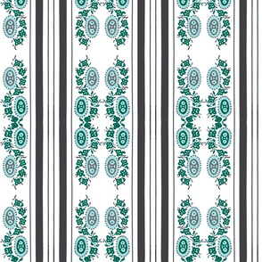 Green grey vintage stripey flower