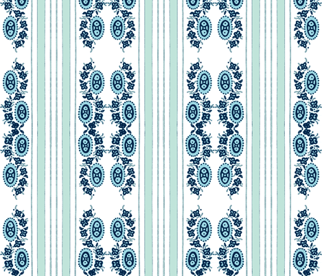 aquablue vintage stripey flower-ch fabric by jennifer_rizzo on Spoonflower - custom fabric