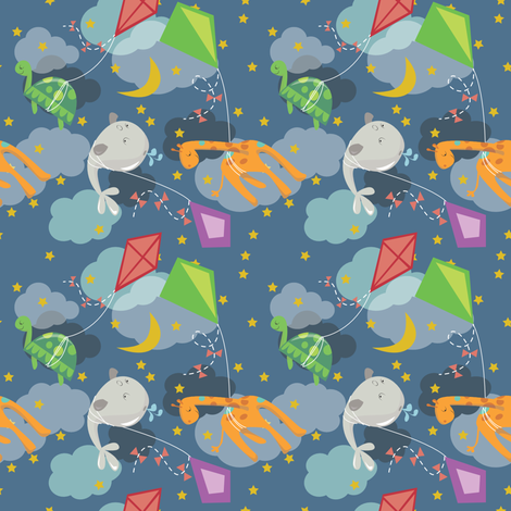 Nighttime Kite Adventures fabric by gsonge on Spoonflower - custom fabric