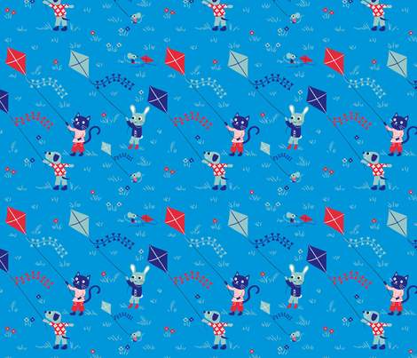 Kite friends Blue fabric by needlebook on Spoonflower - custom fabric