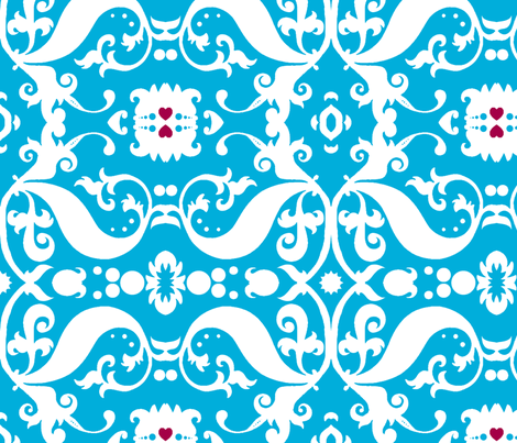 Damask with pink hearts white on light blue fabric by nb_design on Spoonflower - custom fabric