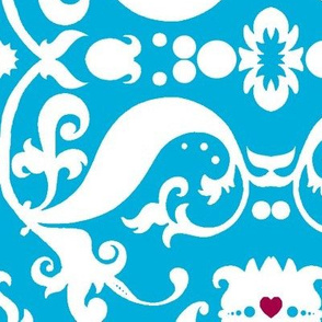 Damask with pink hearts white on light blue