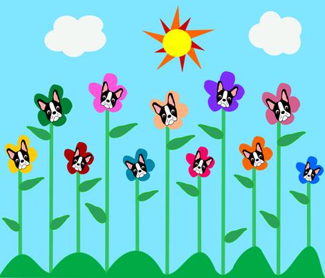 Boston Terrier Garden fabric by missyq on Spoonflower - custom fabric