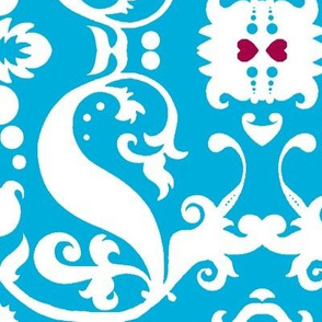 Damask with pink hearts white on aqua, sideways