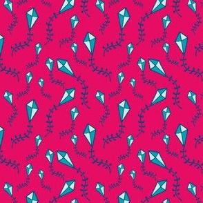 ribbon tailed kite ditsy (blush)