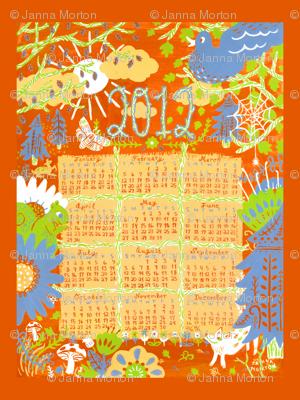 2012 Woodland Creature Calendar Tea Towel - Orange
