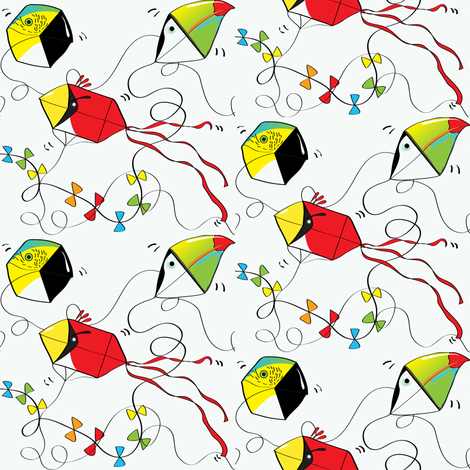 Birdies in the Sky (on off-white) fabric by majobv on Spoonflower - custom fabric